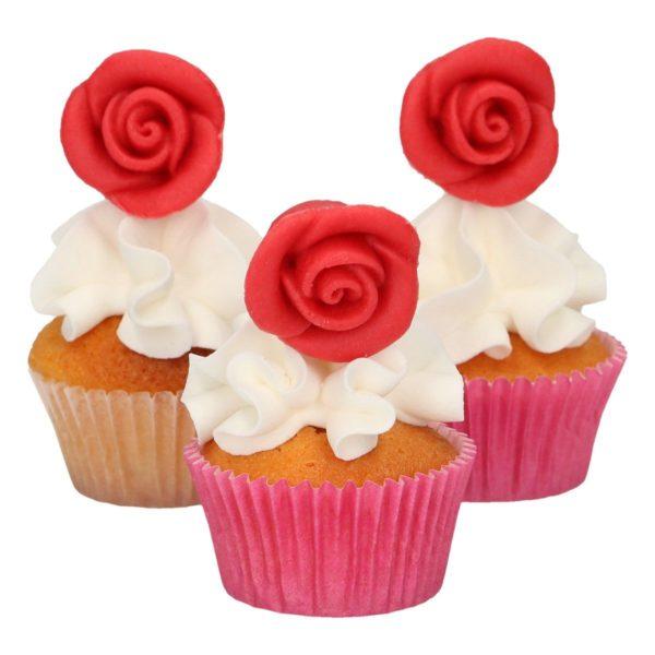 FunCakes spiselig kakepynt, Røde marsipanroser, pk/6