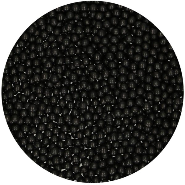 Kakestrø sukkerperler glinsende Svart, 4mm