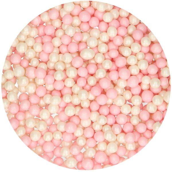 FunCakes Myke perler - Rosa/Hvit 60g