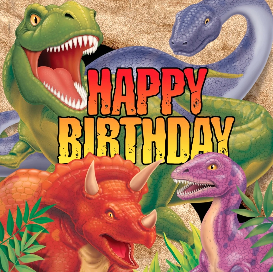 "Servietter - Dinosaur 16 stk ""Happy Birthday"""