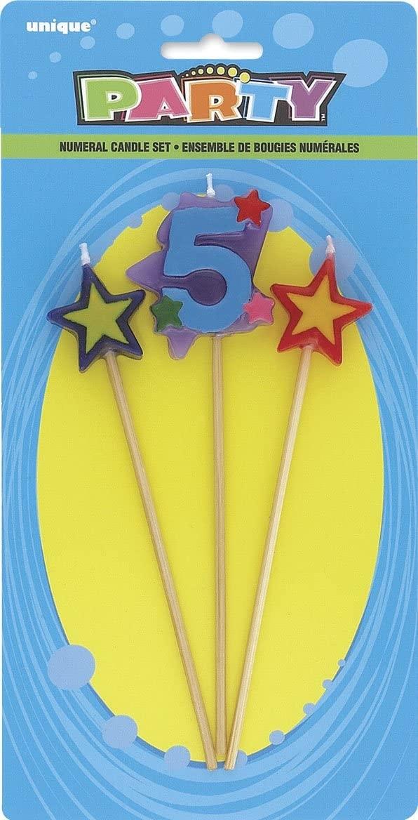 Kakelys, tallet 5 og to stjerner på pinne