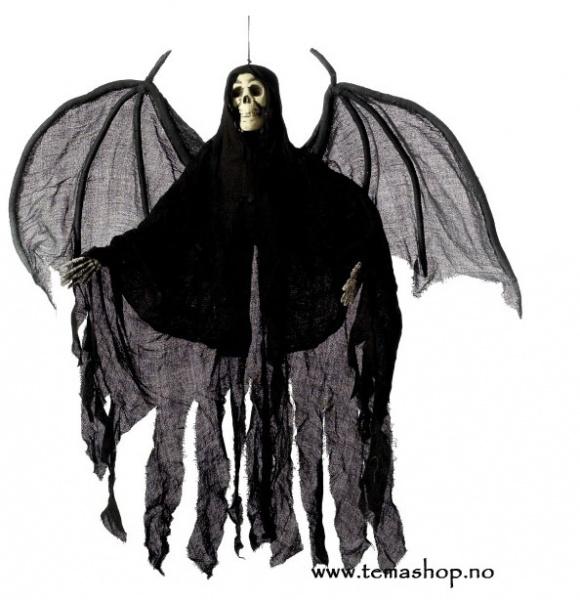 Hengende svart skjelett med kappe/vinger
