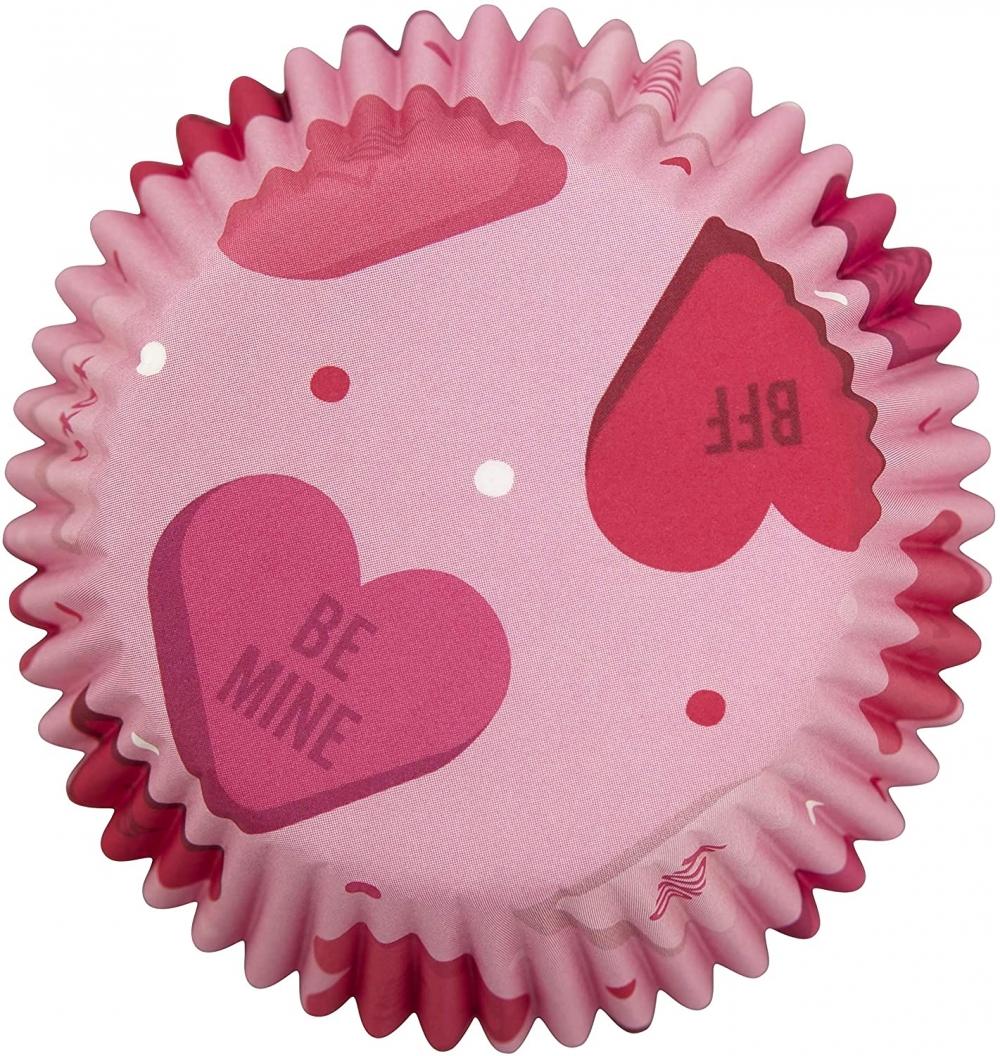 Wilton Muffinsformer Rosa med hjerter, 75 stk