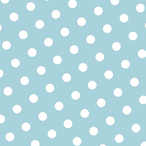 30 lyseblå servietter med hvite prikker
