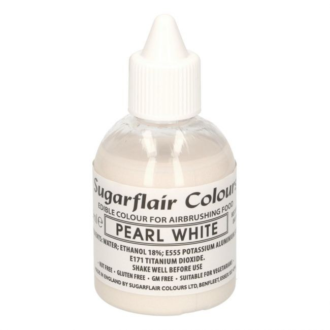 Sugarflair Airbrushfarge -Glitter perlehvit- 60ml