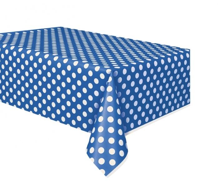 Blå plastduk med hvite prikker, 1,37m x 2,74m