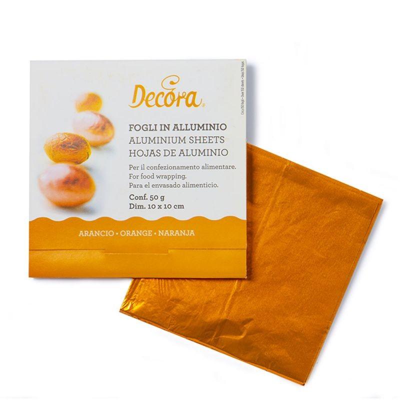 Decora Innpakningsark i aluminium -Oransje- 10x10cm, pk/150