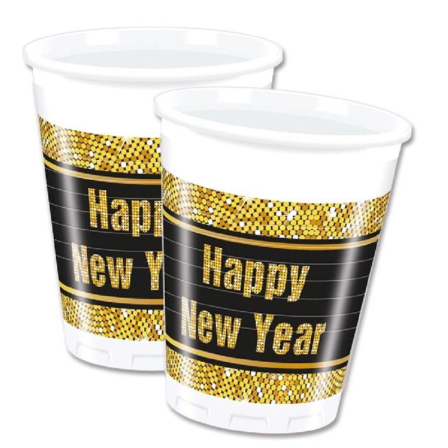 Happy New Year engangskopper, 8stk