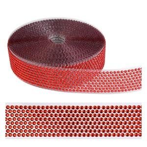 Ribbon plastremse med røde dotter 4cm, 10 meter