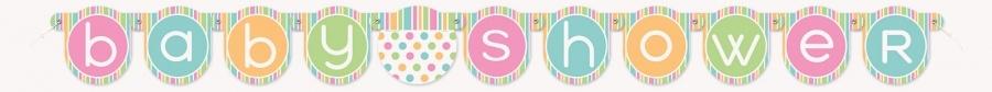 Pastell babyshower banner i papp