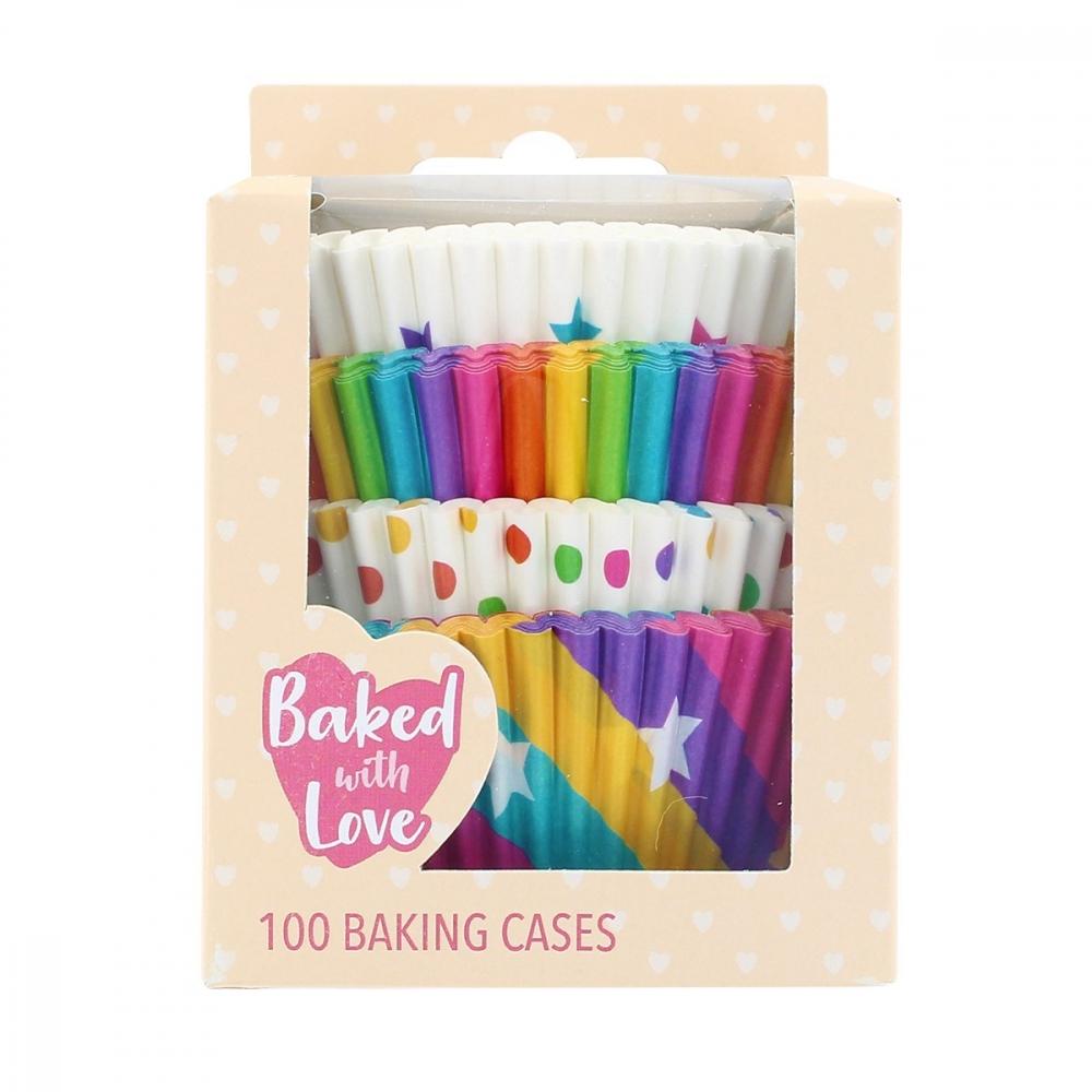 Baked with Love Muffinsformer -regnbuefarger- pk/100