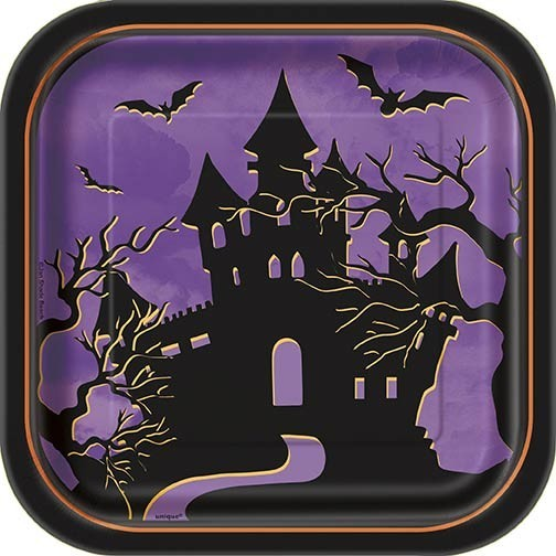 Papptallerken halloween -Haunted House- 18cm pk/10