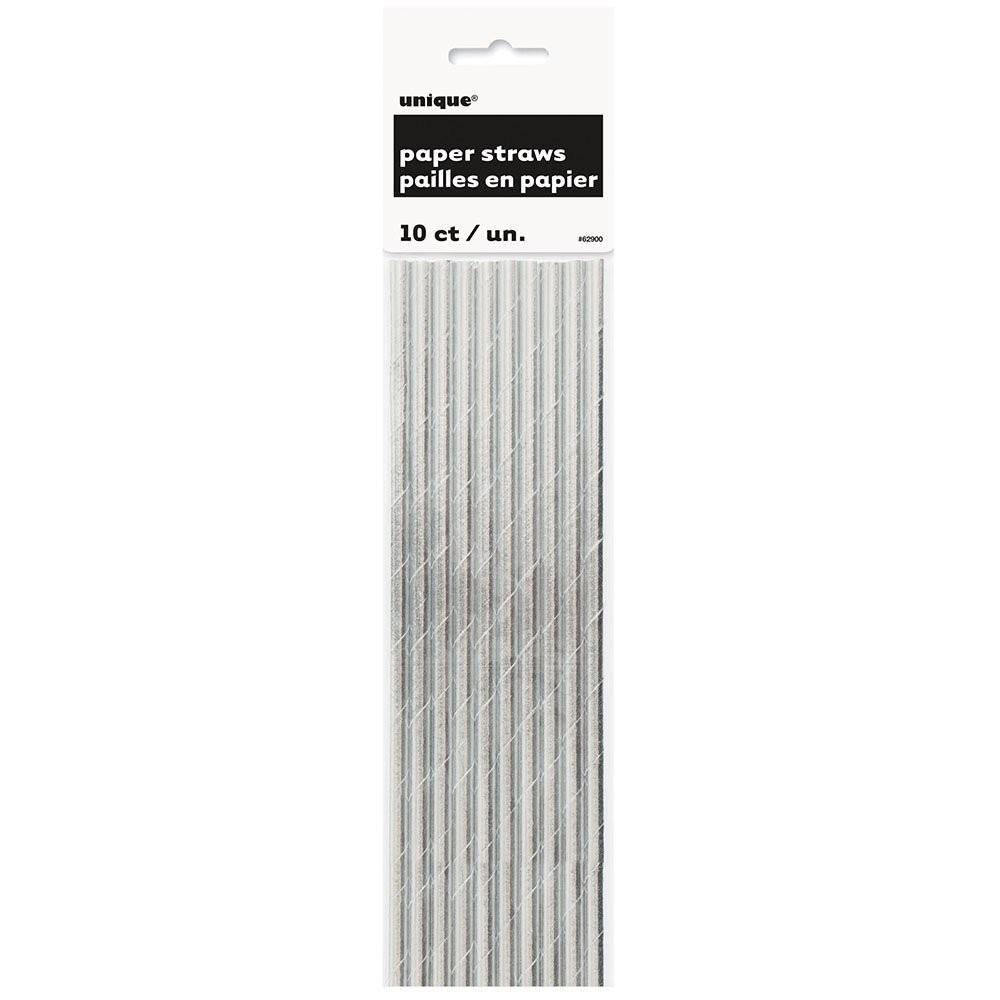 Papirsugerør -Glinsende sølv- pk/10
