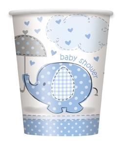 Babyshower elefanttrykk, gutt, 8 engangsbeger