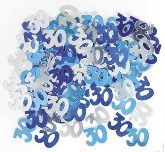 Konfetti -30- Blå og sølv