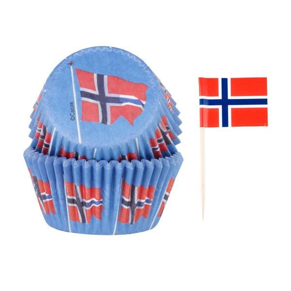 Muffinsform/Sticks Norske flagg, 50/10 Stk