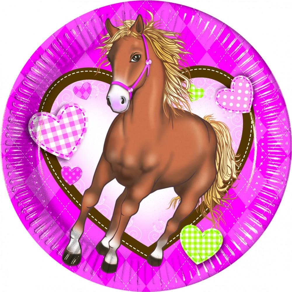 Hest rosa papptallerken 20cm, pk/8