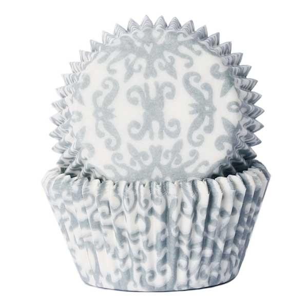 Muffinsform Brokade Sølv std, 50 stk