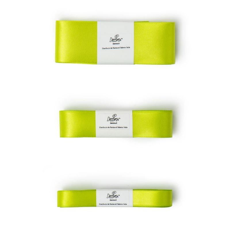Satengbånd, Eplegrønn -15mm- 5m