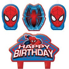Kakelys Spiderman -Happy birthday- sett/4
