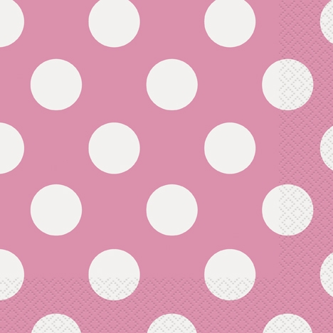 16 rosa/hvit prikkete servietter