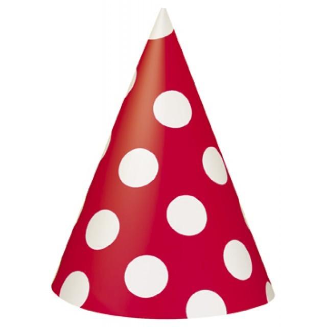 Partyhatter, Rød med prikker, pk/8