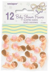 Baby med rosa bleie, 12 stk, små, ca 2,4cm