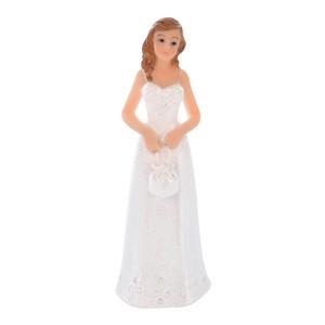 Kaketopp Kvinne i hvit kjole med liten veske