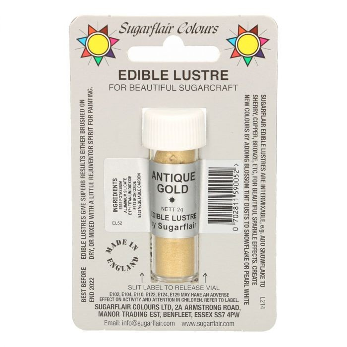 Sugarflair spiselig glitter Antique Gold, 2g