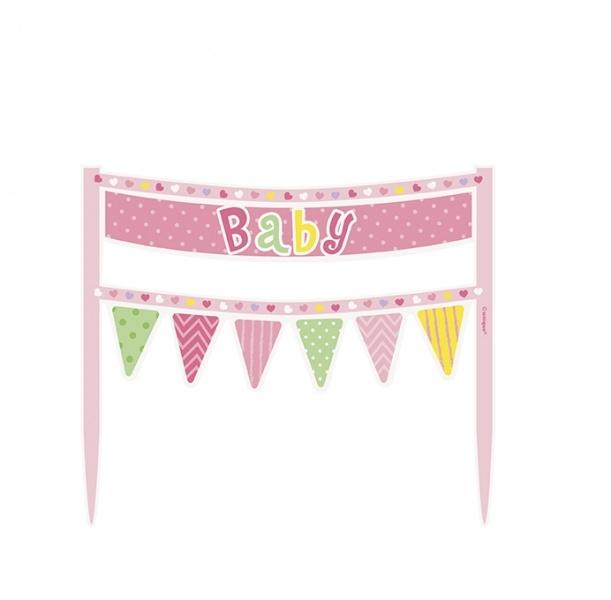 Kakepyntbanner til babyshower, rosa