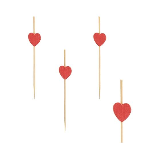 Pinner i tre med hjertedekor, 7 cm, pk/40