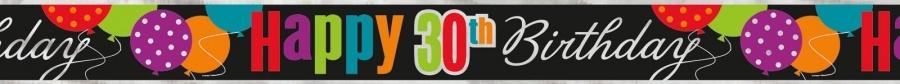 Bursdagsbanner -30- svart og farger. ca 3,6m