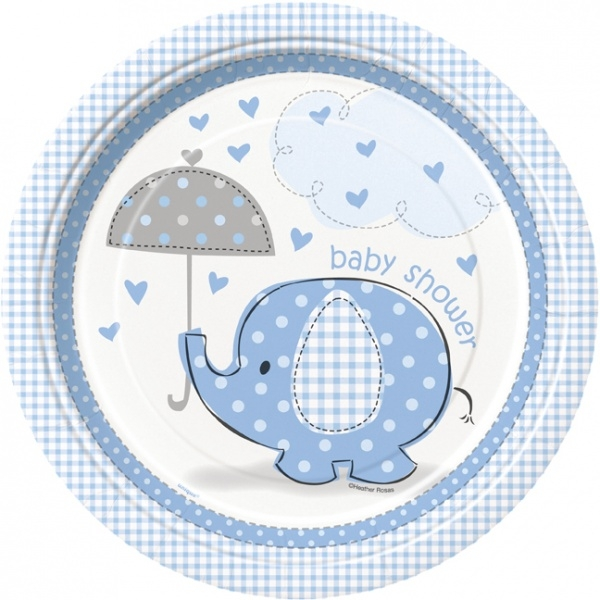 Babyshower elefanttrykk, gutt, 8 vanlige engangsfat