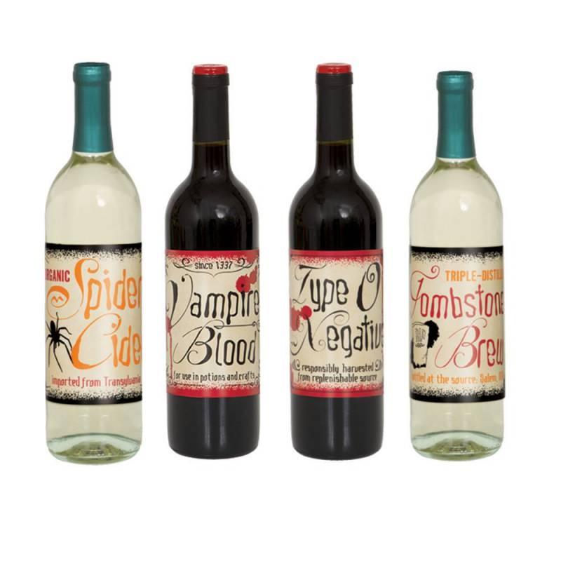 Flaske-etiketter til halloween, Vintage
