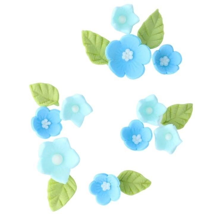 Culpitt Spiselig kakepynt Blå blomster og blader pk/12