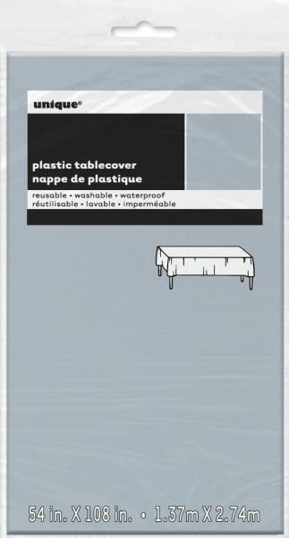 Sølvfarget duk i tynn plast, 1,37 x 2,74 m