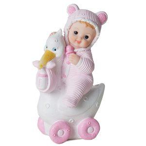 Baby på stork Rosa, 15 cm