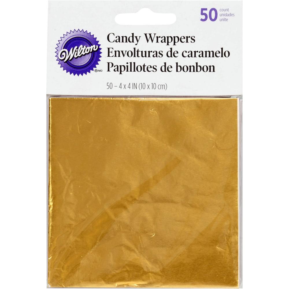 Gullfarget godteripapir, 10x10cm, 50stk