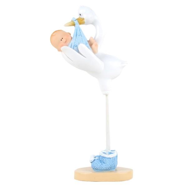 Stork med blå baby, 15 cm