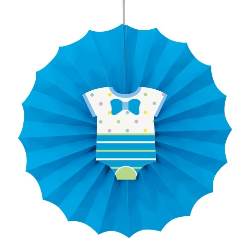 Blå babyshowerdekor, papirvifte med dekor