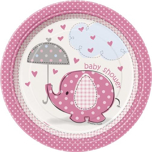 Babyshower elefanttrykk, 8 engangsfat, små rosa/jente