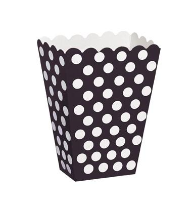 Popcornbeger Svart med hvite prikker, 8 stk