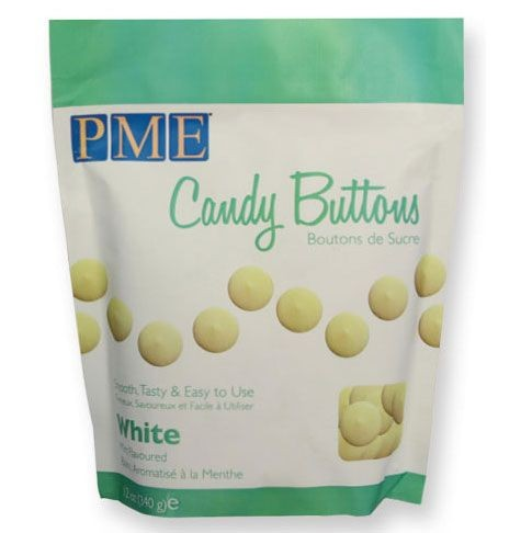 PME Candy Buttons Hvit 340g (BF: 25.07.19)