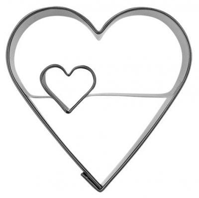 Pepperkakeform hjerte dobbelt eks. - 4,5 cm