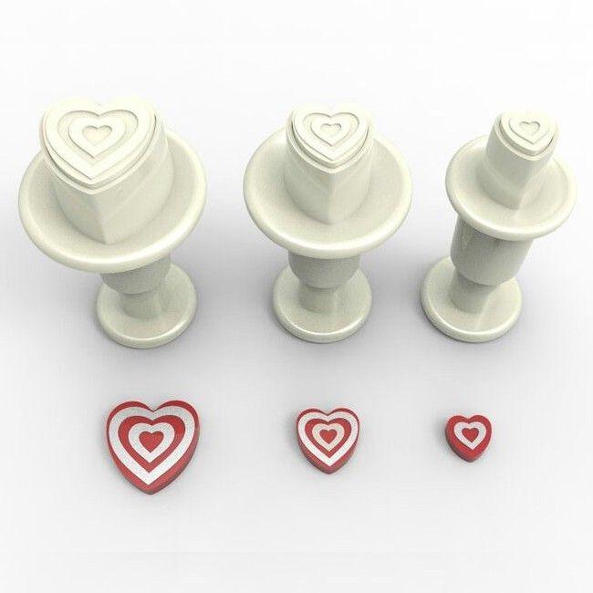 Dekofee Miniutstikker med stempel Stripete hjerter sett/3