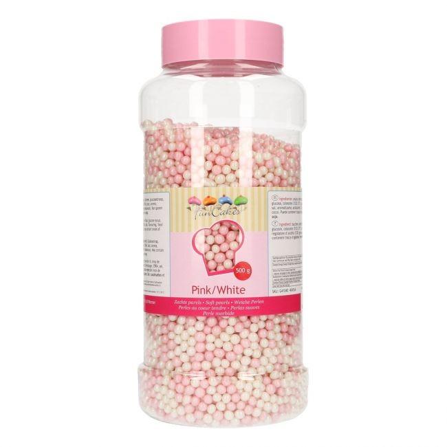 FunCakes Myke perler - Rosa/hvit 500g