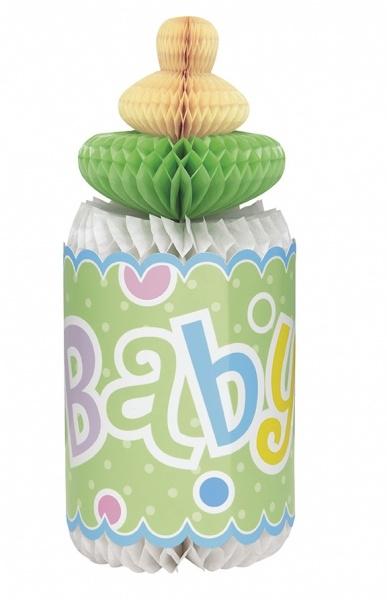 Tåteflaske i 3D til babyshower dekor, nøytrale farger
