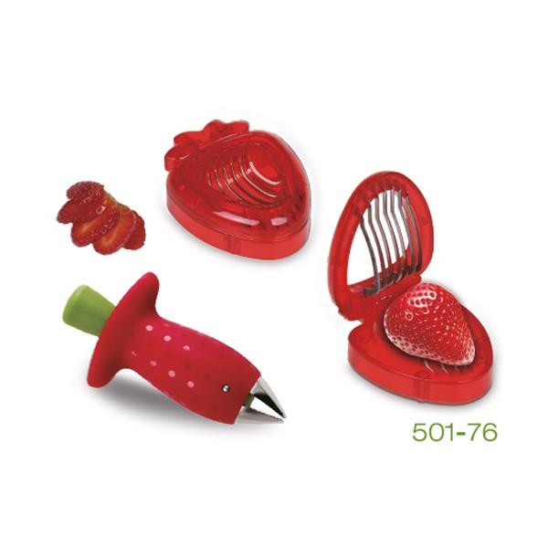 Jordbær-rensker og deler, sett i to deler