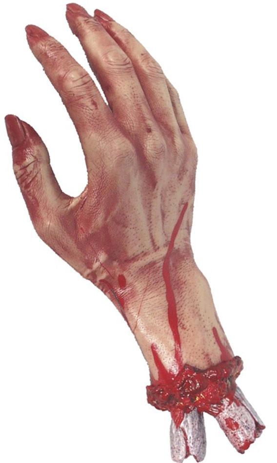 Pynt til Halloween - Avsaget blodig hånd i gummi, 27cm