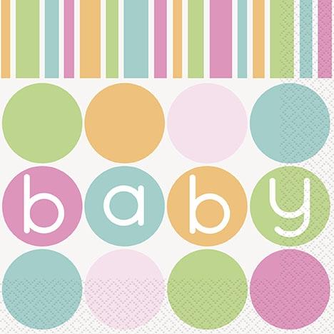 Pastell Babyshowerservietter. 16 stk